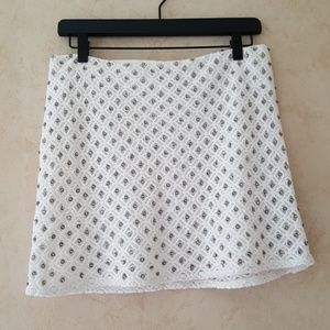 Zara ivory lace and crystal mini skirt NWT size S
